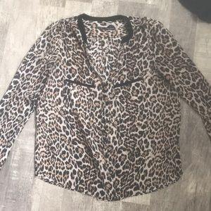 Cheetah print button- up blouse